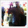 Mack in a 7 eleven with David, shopping in September 2011.