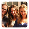 Mack posing with Beverley Mitchell, Haylie Duff, Hilary Duff and other girls after dinner in February 2012.
