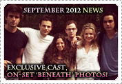 September 2012 News: Mack posing with her fellow cast members from new thriller film 'Beneath', while on the film set in Connecticut, US on 2nd September 2012. This was taken around the last days of shooting the movie. Beneath is due to be released Spring time in 2013 & will air on the Chiller Tv network